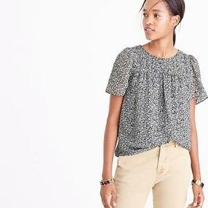 J. Crew Metallic Silk Floral Print Blouse Top